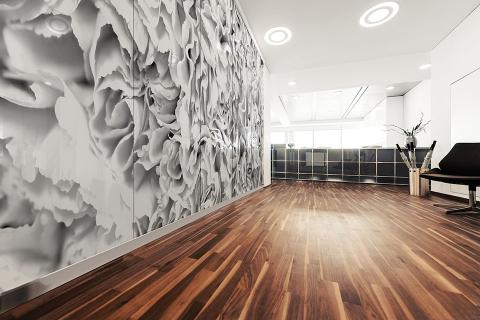 Partition wall in ViviSpectra Zoom glass with Carnations Greyscale interlayer