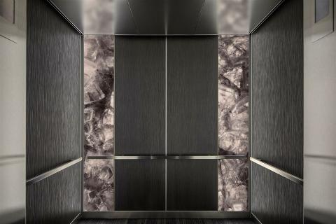 Elevator Interior in ViviSpectra Zoom glass with Dusky Amethyst interlayer