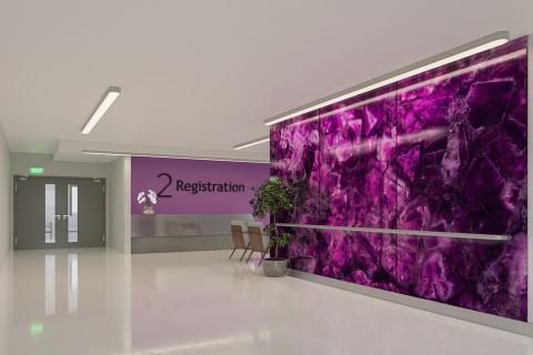 Feature wall in ViviSpectra Zoom glass with Magenta Amethyst interlayer
