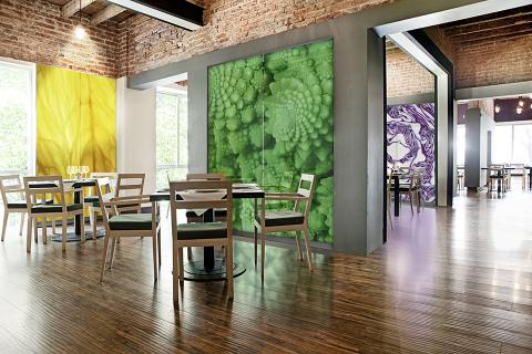 Feature walls in ViviSpectra Zoom glass with Citrus, Romanesco and Cabbage interlayers