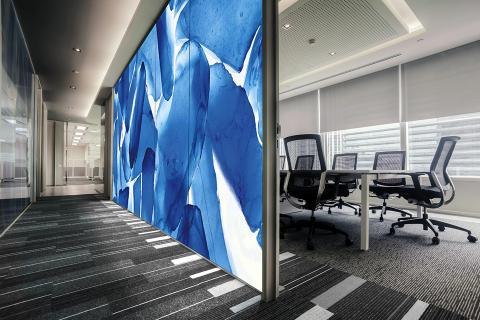 Partition wall in ViviSpectra Zoom glass with Azure Glass interlayer