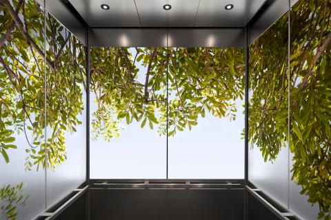 Elevator interior with panels in ViviSpectra Zoom glass with Canopy interlayer