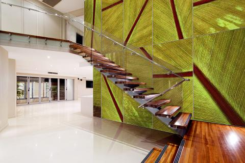 Feature wall in ViviSpectra Zoom glass with Tropical Maurelii interlayer